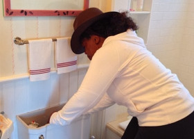 PIC: Just Oprah fixing her toilet.