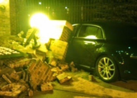 PIC: Main entrance wall crumbles, security responds as car crashes at Easterly plant