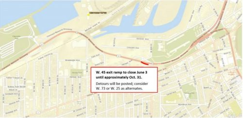W45th ramp closure detour map