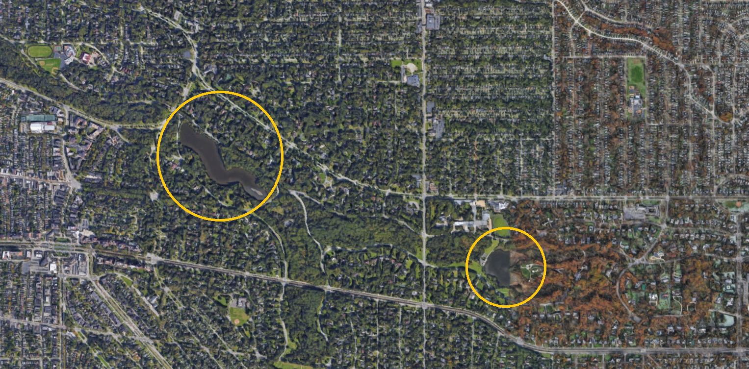 Aerial map of Horseshoe and Lower Lakes in Shaker Heights